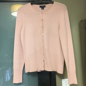 Ann Taylor cardigan in muted pink.
